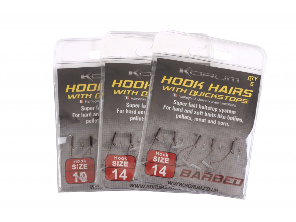 Korum Háčky s očkem a s protihrotem Barbed Hookhairs with quickstops